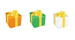 Set of three colorful vector gift boxes Stock Photography