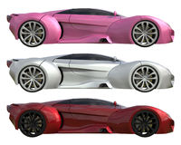 A set of three conceptual racing cars of one model of pink, gray and red colors. Side view. 3d illustration. A set of three conceptual racing cars of one model royalty free illustration