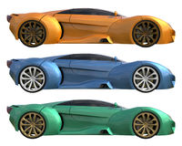 A set of three conceptual racing cars of one model of yellow, blue and green colors. Side view. 3d illustration. A set of three conceptual racing cars of one stock illustration