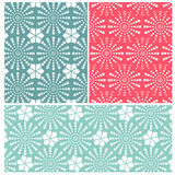 Set of three crochet flower patterns Stock Photos