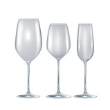 Set of three crystal empty glasses isolated Royalty Free Stock Image