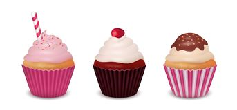 Set of three Cupcakes. Vector illustration Stock Images