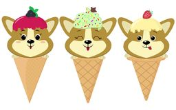 A set of three cute Corgi puppies in the form of ice cream. royalty free illustration