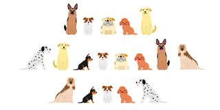 Various dogs border set2. Set of three cute dogs long borders vector illustration