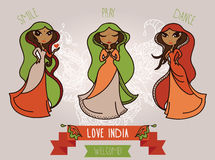 Set of three cute doodle indian girls Royalty Free Stock Photography
