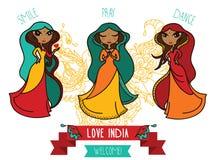 Set of three cute doodle indian girls Stock Photos