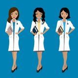 Set of three cute female doctors,asian and european races. On blue background, stock vector illustration Royalty Free Stock Image