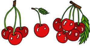 Set of three cute red cherries Royalty Free Stock Photo