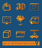 Set of three d printer icons Stock Image