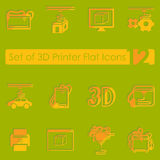 Set of three d printer icons Royalty Free Stock Image
