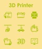 Set of three d printer simple icons Stock Photo