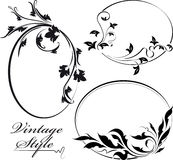 Set of three decorative floral oval  frame. Stock Images