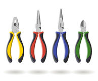 Set of three different types  pliers and sidecutters Royalty Free Stock Photos