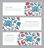 Set of three digital fish and seafood horizontal banners with icon pattern. Vector illustration. Vector banners and pattern, background design template Royalty Free Stock Photos
