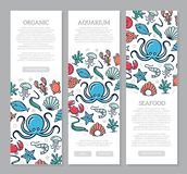 Set of three digital fish and seafood vertical banners with icon pattern. Vector illustration. Vector banners and pattern, background design template Royalty Free Stock Photography