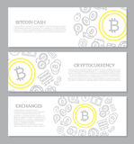 Set of three digital money and bitcoin horizontal banners with seamless icon pattern. Vector illustration. Vector banners and pattern, background design template Royalty Free Stock Photography