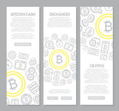 Set of three digital money and bitcoin vertical banners with seamless icon pattern. Vector illustration. Vector banners and pattern, background design template Royalty Free Stock Images