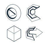 Set of three-dimensional abstract icons, play sign, arrow Stock Photos