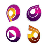 Set of three-dimensional abstract icons, play sign. 3d vector pu. Sh button, multimedia arrow symbol isolated on white background. Collection of graphic elements Stock Photo