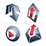 Set of three-dimensional abstract icons, play sign, special arro Royalty Free Stock Images