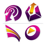 Set of three-dimensional abstract icons, play sign, special arro Stock Images