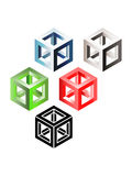 Set of three-dimensional cubes Royalty Free Stock Images