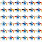 Set of three-dimensional image of the flags of world Royalty Free Stock Photography