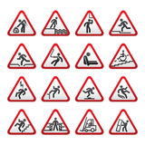 Set of three-dimensional Warning Hazard Signs Stock Photos