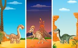 Set of three dinosaurs vector illustration