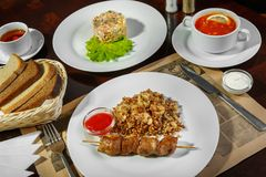 A set of three dishes for business lunch royalty free stock images