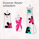 Set of three dresses in flowers Royalty Free Stock Image