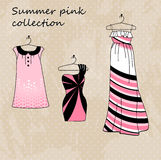 Set of three dresses in pink color stock illustration