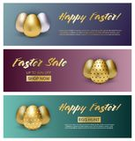 Set of three easter banners on gradient background with metallic eggs stock illustration