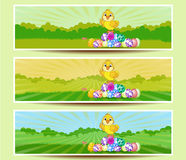 Set of three Easter banners Stock Image