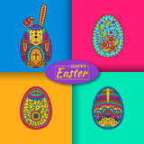 Set of three Easter eggs and white easter rabbit. Modern material background at the back Stock Image
