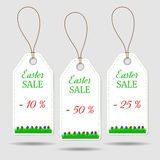 Set of three Easter price stickers. On grey background vector illustration