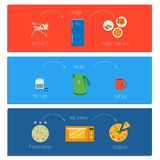 Set of three easy recipe instructions. Vector illustration in a flat style Stock Photo