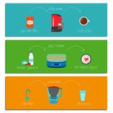 Set of three easy recipe instructions . Vector illustration in a flat style Royalty Free Stock Photos