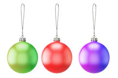 Set of three empty Christmas balls of different colors Royalty Free Stock Image