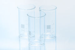 Set of three empty temperature resistant cylindrical beakers for measurement Stock Image