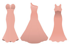 Set of three evening cocktail dresses color of tea rose. Vector illustration Royalty Free Stock Photo