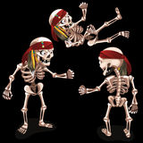 Set of three evil pirates skeletons Royalty Free Stock Photography
