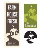 Set of Farmhouse Vector Logos. Set of three farmhouse logos or badges with winding road leading to house Royalty Free Stock Photo