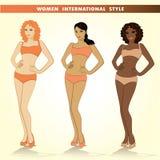 Set of three fashion girls, vector illustrations. Royalty Free Stock Photos