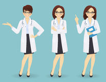 Set of three female doctors in different poses Stock Photos