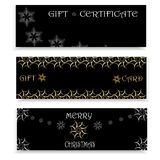 Set of three festive banners for Christmas and New Year. Template for gift certificates, cards, stickers, labels, invitations, postcards, packaging, packing Stock Image