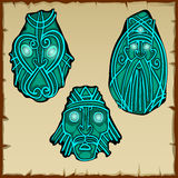 Set of three figures carved from stone, vector Royalty Free Stock Images