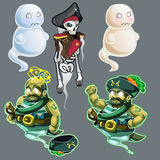 Set of three figures of pirates and two ghosts Royalty Free Stock Photography
