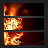 Set of three flaming headers. Royalty Free Stock Images