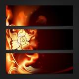 Set of three flaming headers. Set of three headers. Vector illustration Vector Illustration